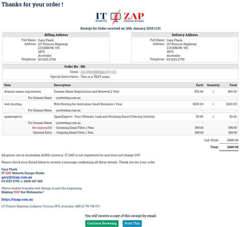 Thanks Receipt Css And Email Message Templates Asp Net Ecommerce Templates