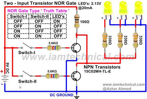 transistor nor gate circuit nor gate using npn transistor iamtechnical