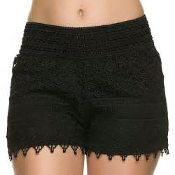crochet shorts 2016 new hot fashion solid black white summer shorts