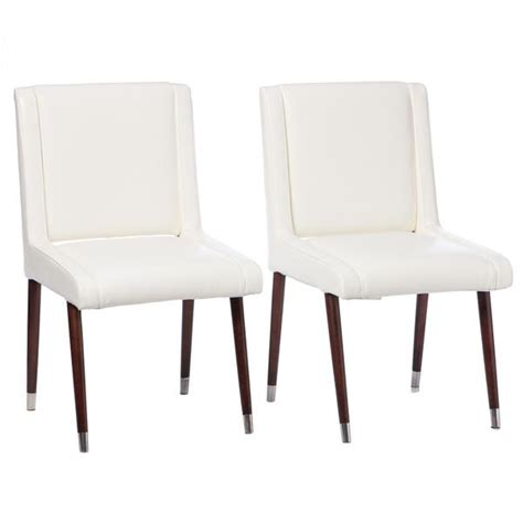 white chair dining set joan modern white leather dining chairs set of 2