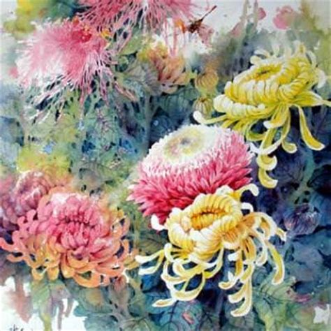 chrysanthemum watercolor art painting techniques tip