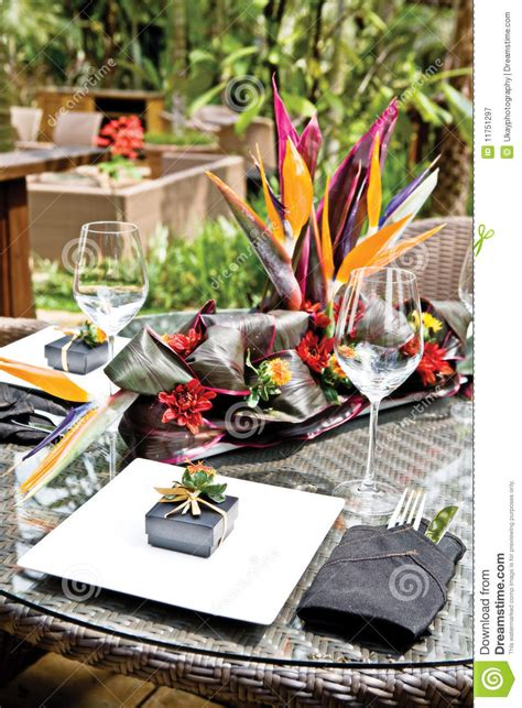 tropical resort style table setup royalty  stock photography image