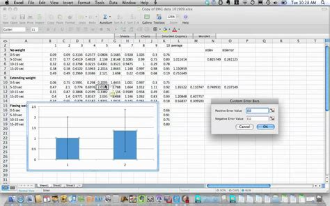 tutorial excel mac 2008 adding custom error bars in mac excel 2008 youtube