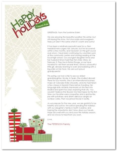 printable contemporary christmas family letter template