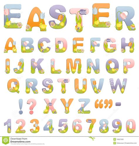 printable easter alphabet letters cute easter alphabet stock photo image 19507630
