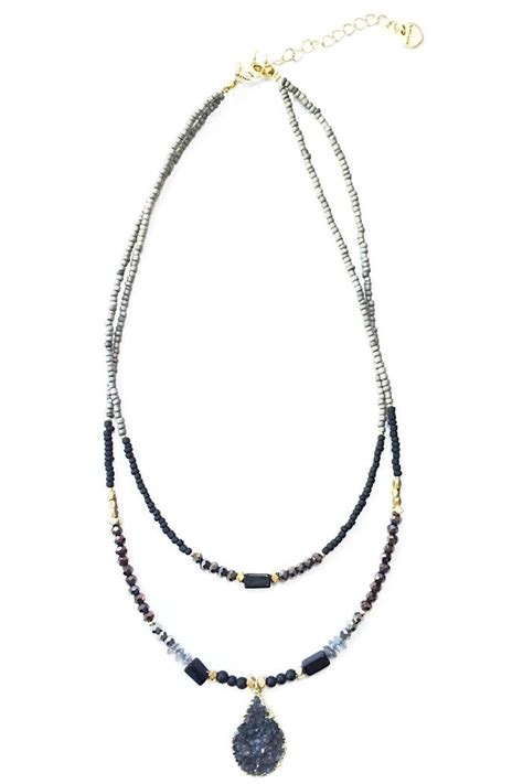 Light Years Jewelry by Light Years Collection Beaded Druzy Necklace From Chapel