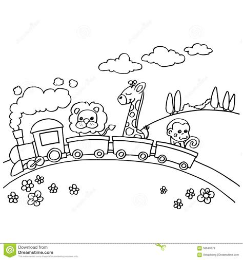 Animal Train Coloring Page | animal train coloring vector stock vector image 58640778