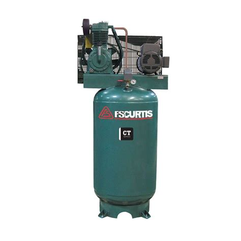 fs curtis  gal  hp vertical  stage air compressor