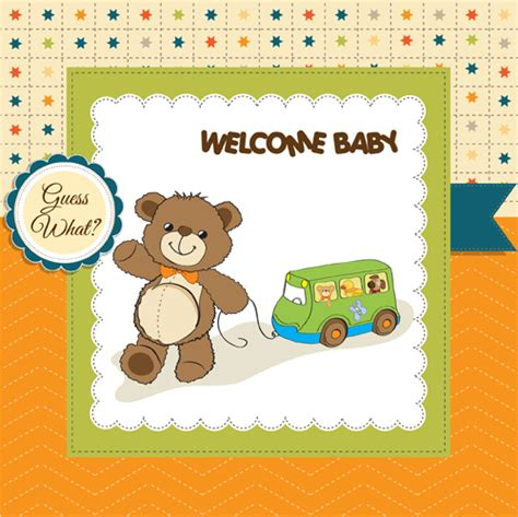 baby sts for card lovely baby cards vector set free vector in adobe