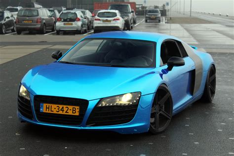 audi r8 chrome blue chrome blue audi r8 in rotterdam sounds drift