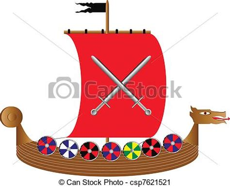 long boats cartoon vector clip art of viking ship on white vector