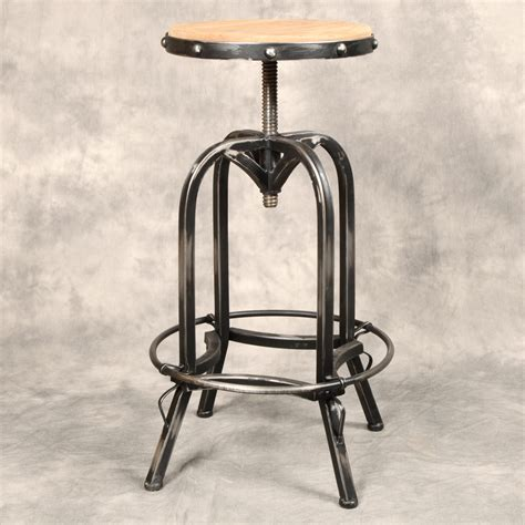 Iron Bar Stool With Wood Seat industrial antique iron bar stool reclaimed wood seat ebay