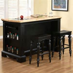 Pennfield Kitchen Island Pennfield Kitchen Island Amp Stools In Black Finish Powell