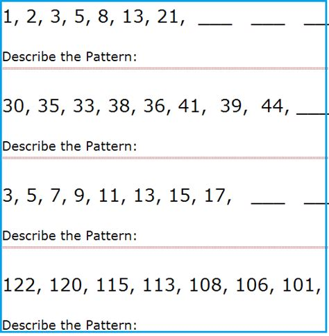 intermediate level number patterns worksheets