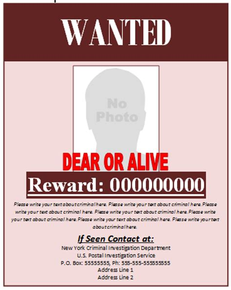 Wanted Poster Template Microsoft Word Templates Wanted Poster Template Microsoft Word