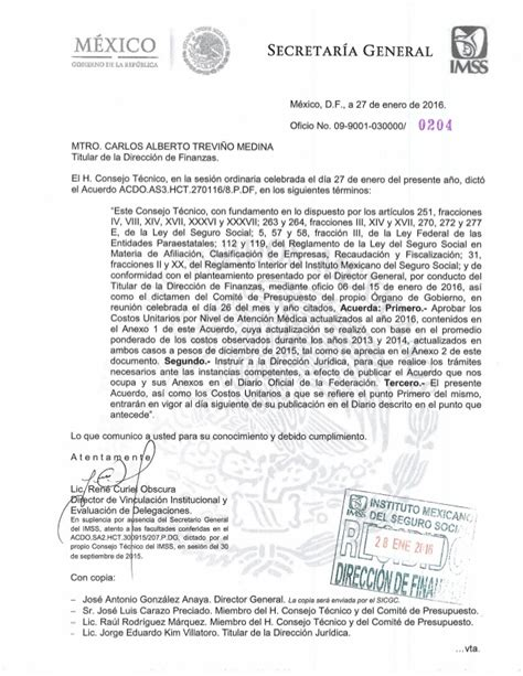 acuerdo canacar 2016 imss aviso de costos unitarios imss 2016