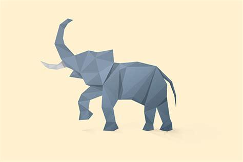 desain gambar gajah gambar desain ilustrasi poligon hewan keren oleh matt