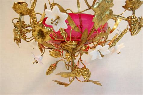 Chandelier Centerpieces For Sale Chandelier With Glass Lilies And Sted Brass Decorations For Sale At 1stdibs