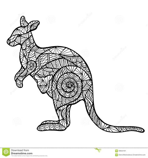 stylized kangaroo zentangle stock vector image 58504161