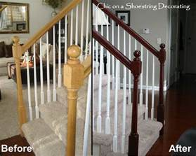 stair banister rails on a shoestring decorating how to stain stair railings