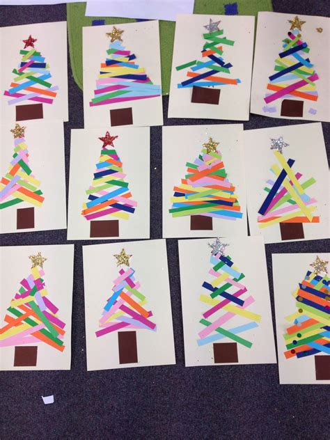 crafts for make for kindergarten about holidays in australia kindergarten do this as a center tree paper strips projects ideas collage