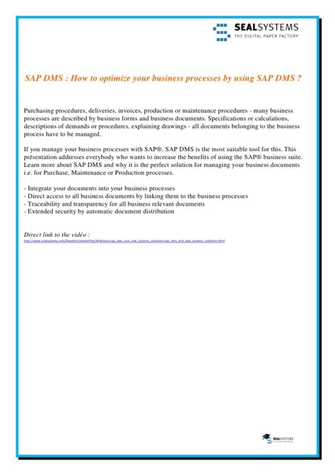 tutorial dms sap sap dms how to optimize your business processes by using