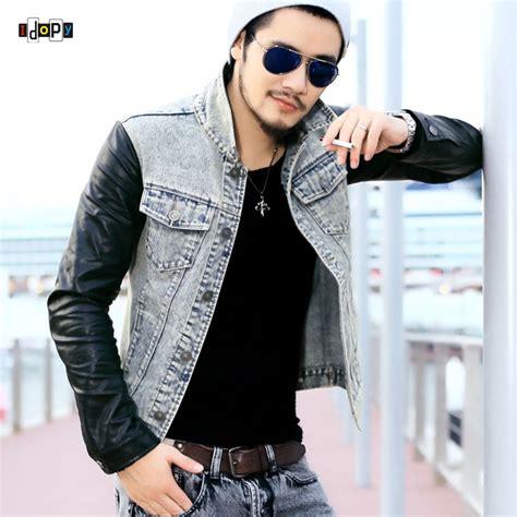 Jeand Washed Vest Fit L fashion s denim jacket with leather sleeves slim fit vintage patchwork acid washed jean