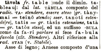 tavola balistica etimologia tavola