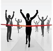 Running Businesswoman Crossing Finish  Stock Vector