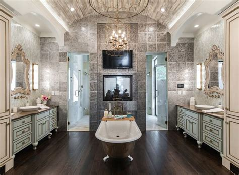 Restoration Hardware Dining Room by Luxurious Master Bathroom With Clawfoot Tub And Fireplace