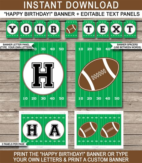 printable football banner football party banner template birthday banner