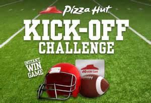 Pizza Hut E Gift Card - pizza hut kick off challenge instant win game win a 10 pizza hut egift card 250