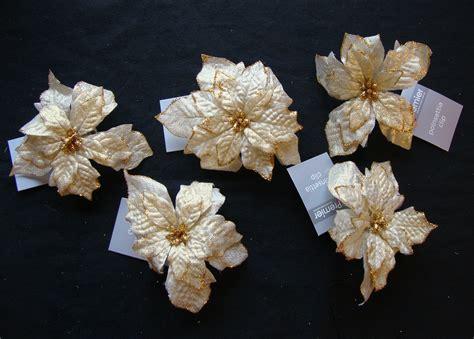 hessian gold poinsettia picks 5 x gold clip on poinsettia tree decorations picks ebay