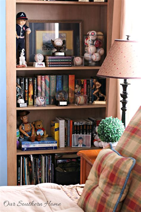 decorating bookcases for boys our southern home