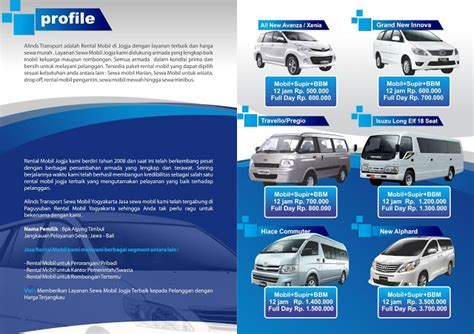 desain brosur rental mobil contoh brosur iklan rental mobil yang bagus untuk promosi