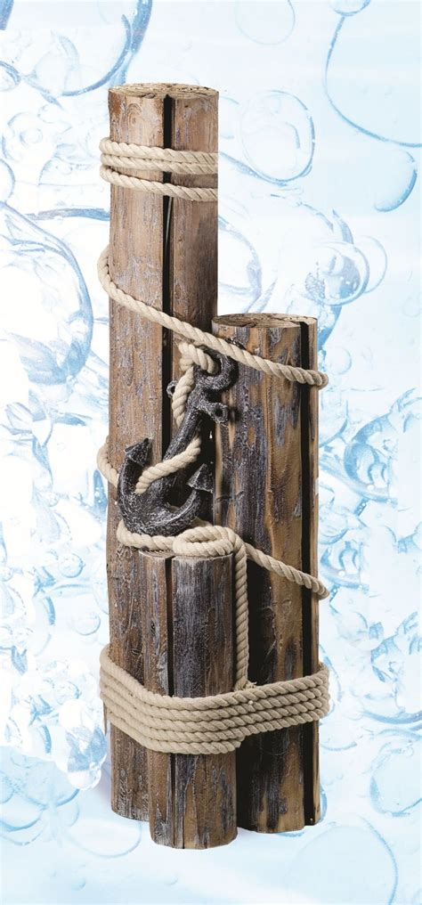 nautical decoration decorative nautical pilings with rope and anchor