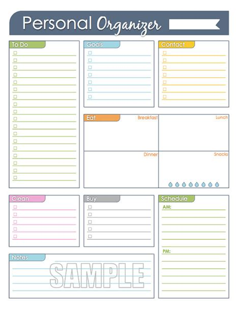 week organizer template personal organizer editable daily or weekly planner page