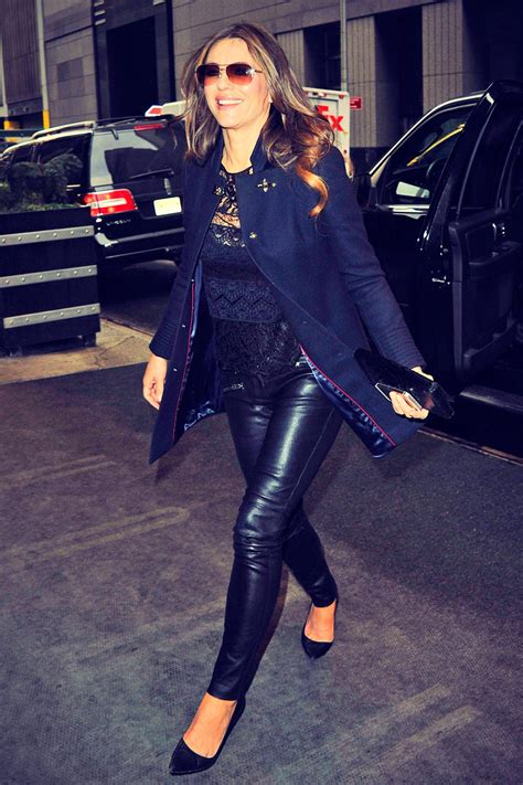 liz hurley     nyc leather celebrities