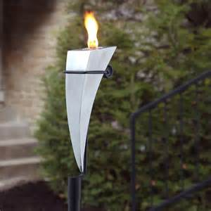 dionysus brushed stainless steel garden torch with yard