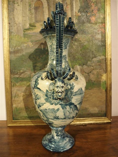 antique italian faience vase from tuscany italy at
