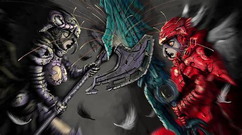 wallpaper anime overlord albedo vs shaltear full hd wallpaper and background image