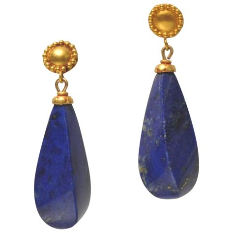 lapis lazuli gold dangle earrings at 1stdibs