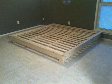 King Size Floor Bed Frame White King Sized Hailey Platform Bed Diy Projects