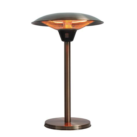 Table Patio Heater Sense Cimarron 1 500 Watt Brushed Copper Colored Table Top Halogen Patio Heater 62217 The