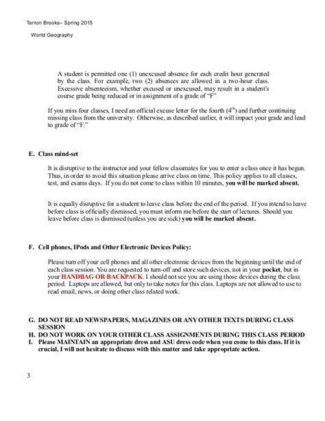 Unexcused Absence Letter Sle World Geography Syllabus 2015