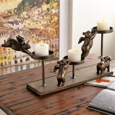 flying pig home decor spi flying pigs pillar candleholder 34120