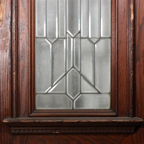 Magnificent Antique 36 Exterior Door With Beveled Leaded Stained Glass Door For Sale