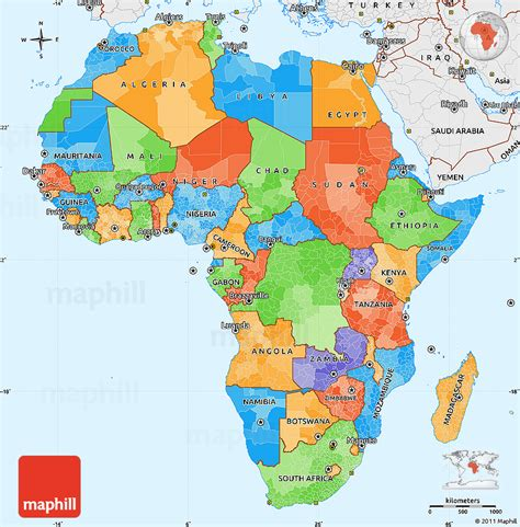 africa map in color political simple map of africa single color outside