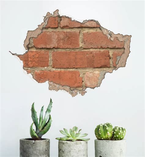 brick wall stickers brick and plaster wall sticker by oakdene designs notonthehighstreet