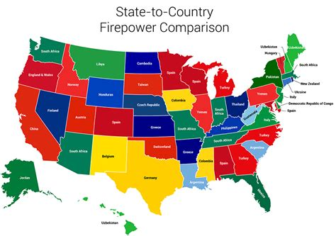 map of usa showing each state gun infographic compares each state s firepower to a